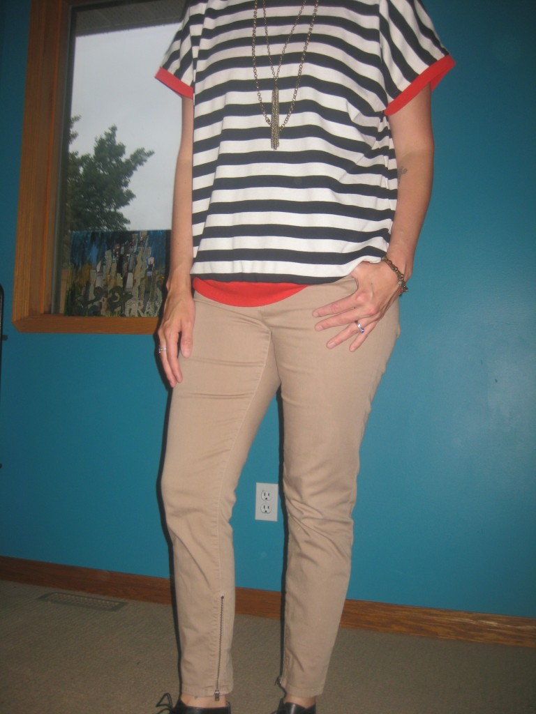 Stripes are a neutral which means you can mix and match them with everything, including other neutrals like these $4 pants. The zipper on the pants is what inspired my accessories.