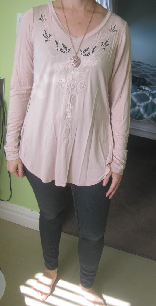 Charcoal skinnies are comfy and easy to wear with a tunic top and necklace.