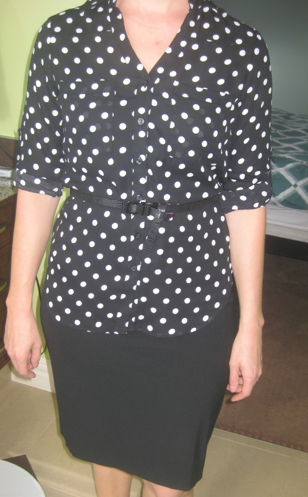 One of Rachelle's tricky pieces is this polka dot blouse. The first key was cuffing then buttoning up the sleeves. You'd be surprised how exposing some forearm instantly upgrades an outfit!