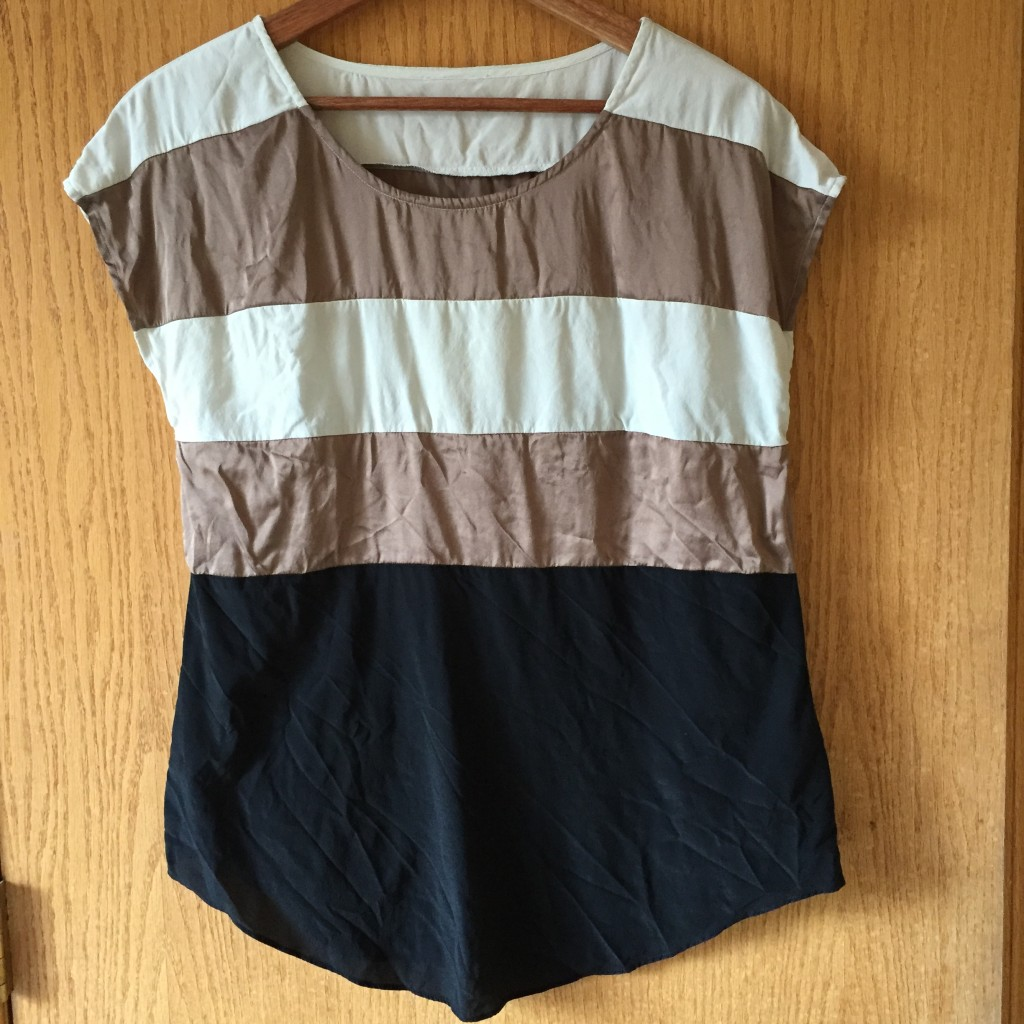 Silk colour block top (as yet unironed!) $2 from Hope Missions Bargain Shoppe