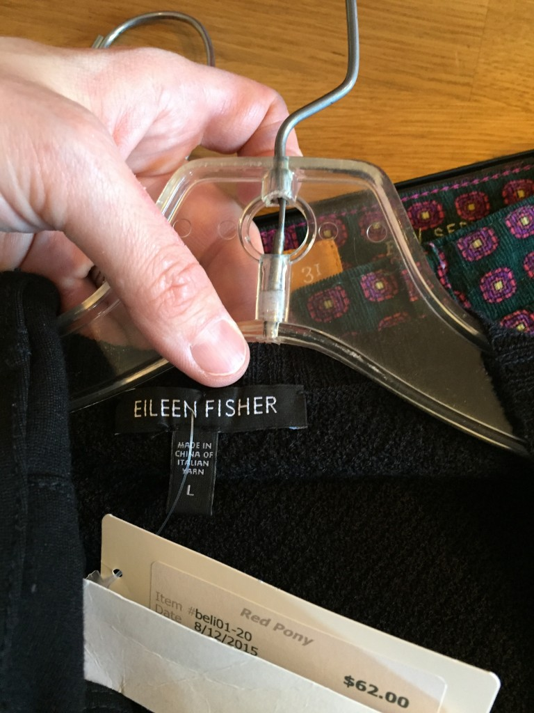 I also scored this Eileen Fisher wool long cardi for half off the ticketed price!
