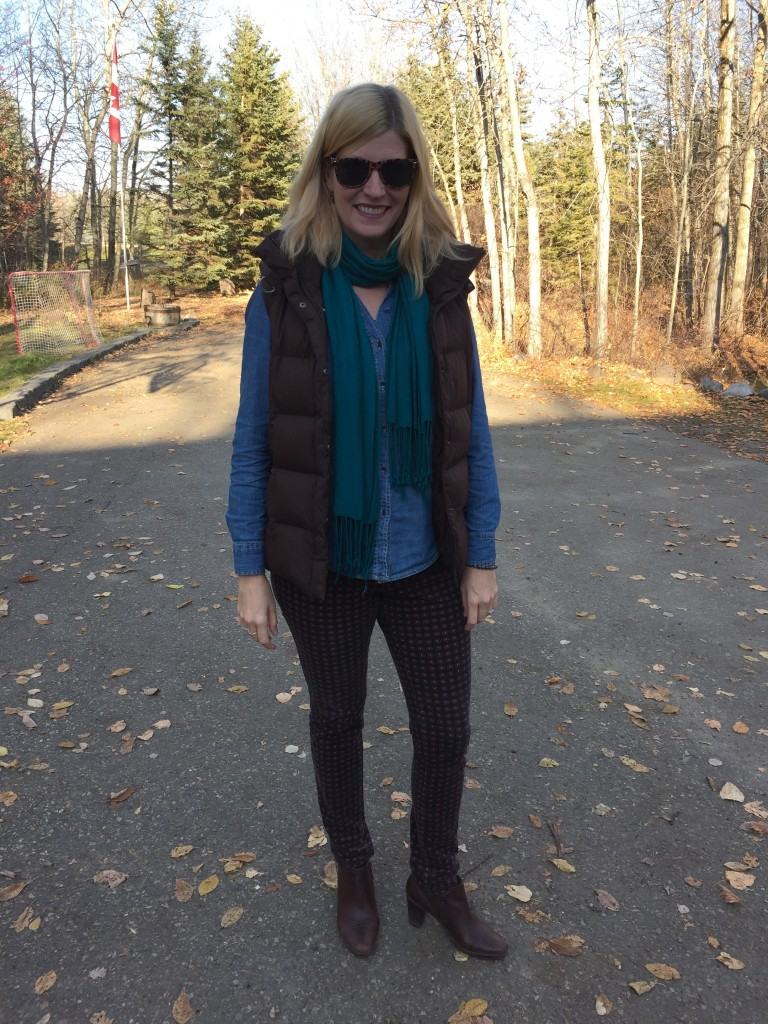 Chambray $4.20, teal scarf $5, sunnies $2.50, Clarks booties $10 plus Eddie Bauer puffer vest B.T. (Before Thrifting)