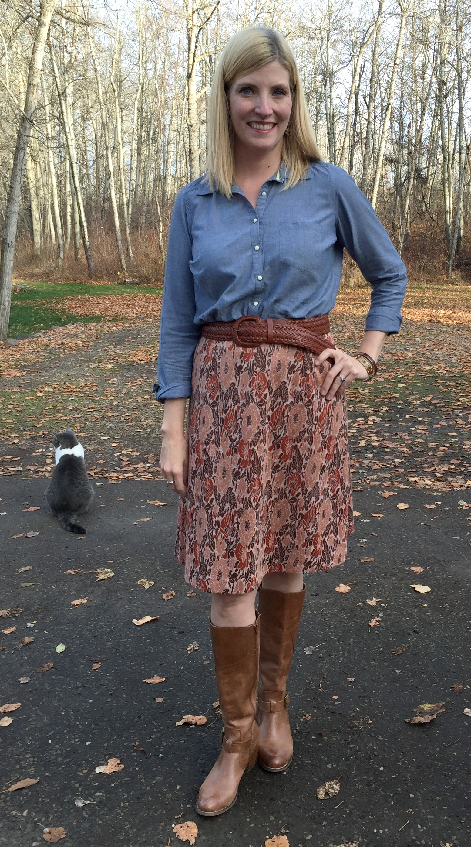 Chambray $6, leather belt  $4.20, vintage skirt $5, Miz Mooz boots $7.50 plus accessories from my collection.