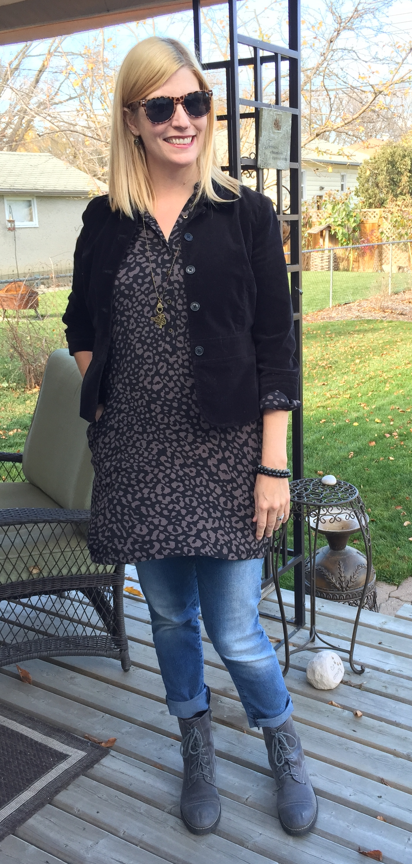 Embracing sustainability in my outfit - thrifted $2.80 denim, $9.10 Ann Taylor dress, $11.90 leather boots and $2.50 sunnies; accessories by local designer She Does Create; belt (not shown) by ethical manufacturer Flatter Me Belts; velvet blazer from my closet circa 2002 - when some of the girls were born! Buy well and pieces will last like this!