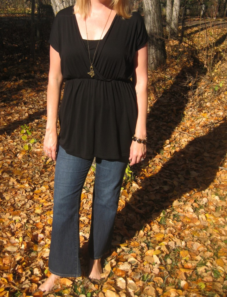 Paige denim $3, shoes $3,  black tunic with pockets $6, She Does Create build-your-own-pendant, bracelet and earrings.
