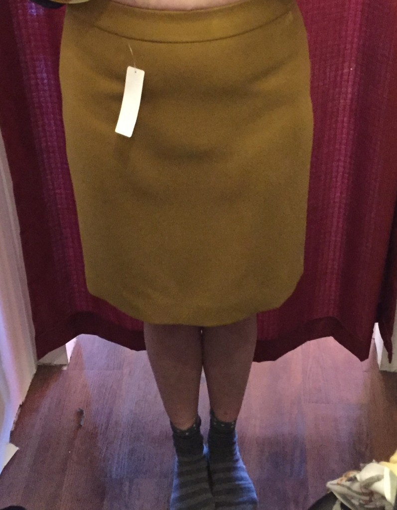 I tried on a few J Crew pencil skirts - some were just a smidge too tight and then there was this one.  It really wasn't tight but that really didn't matter.  So so bad.