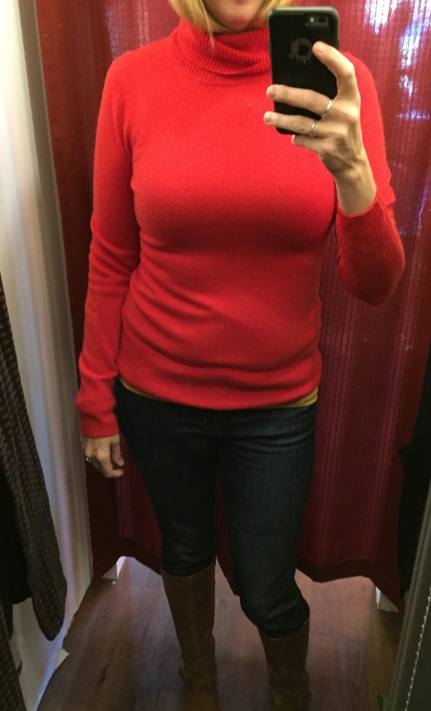 J Crew red cashmere turtleneck - so pretty but oh so tight.  There's nothing like a tight turtleneck to make your boobs look ginormous.