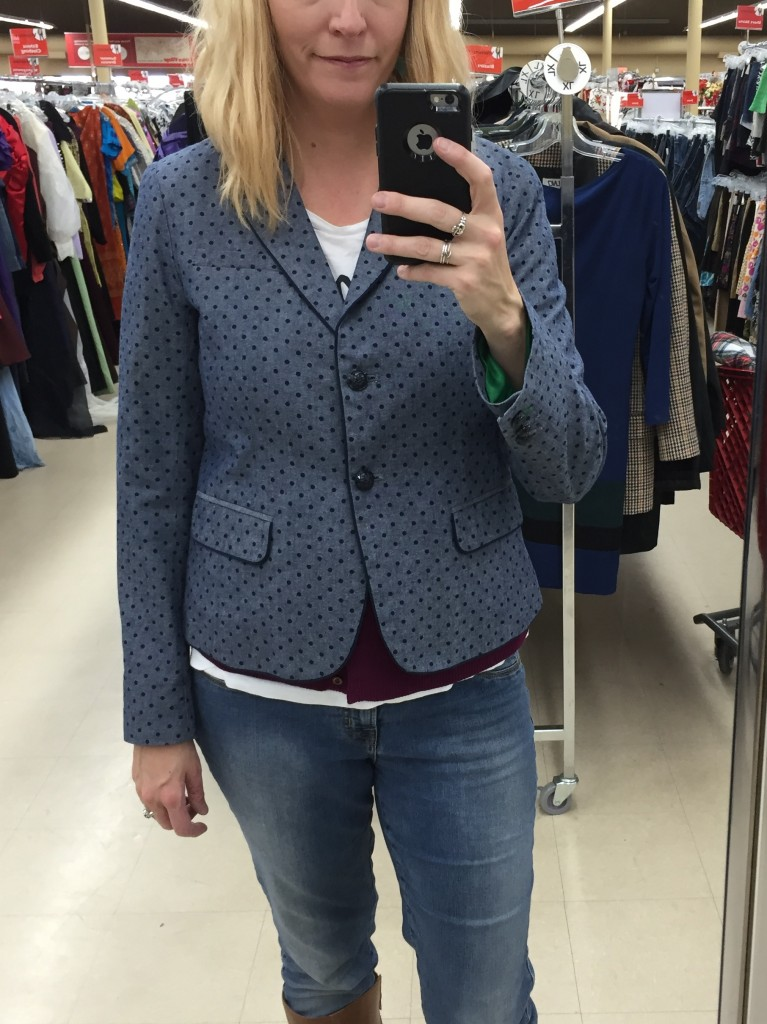 This GAP blazer was also $5.60. You can just see a bit of the green lining on the sleeves... hmmmm.