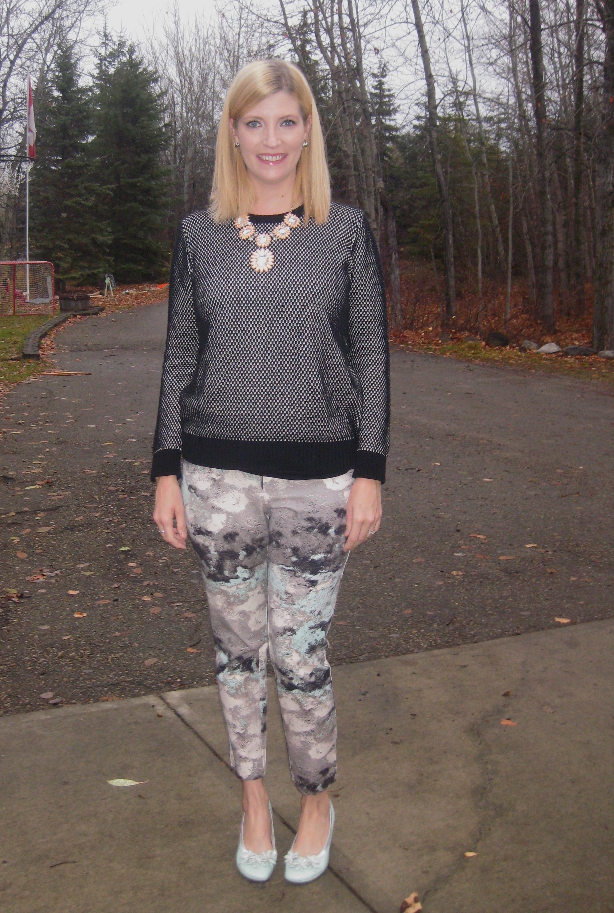 French Connection sweater $7, statement necklace $17.50,  Mossimo pants $7, Hispanitas shoes $15