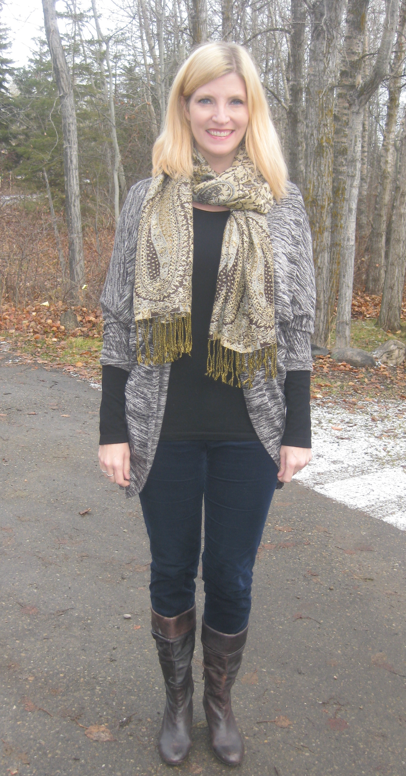 Cords $4.20, cardi free, pashmina $5, gifted black long sleeve C'est Moi tee, Arnold Churgin brown boots
