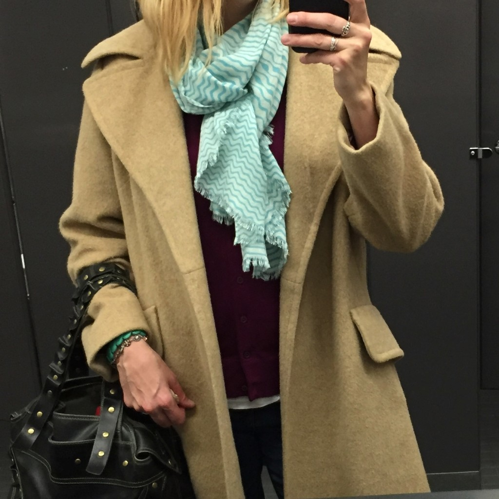 What THIS hockey mom wears to the rink: a vintage $7.70 camel coat, Indigo scarf $3.50, Matt &Nat bag $18.