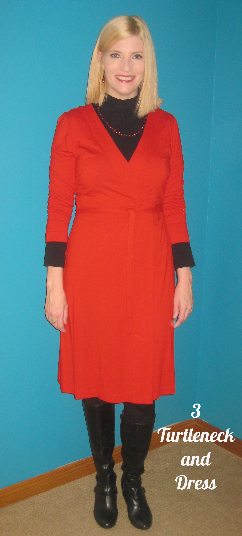 Ann Taylor dress $10.20, Nicole Miller turtleneck $2, Naturalizer boots $12.60, necklace $1.