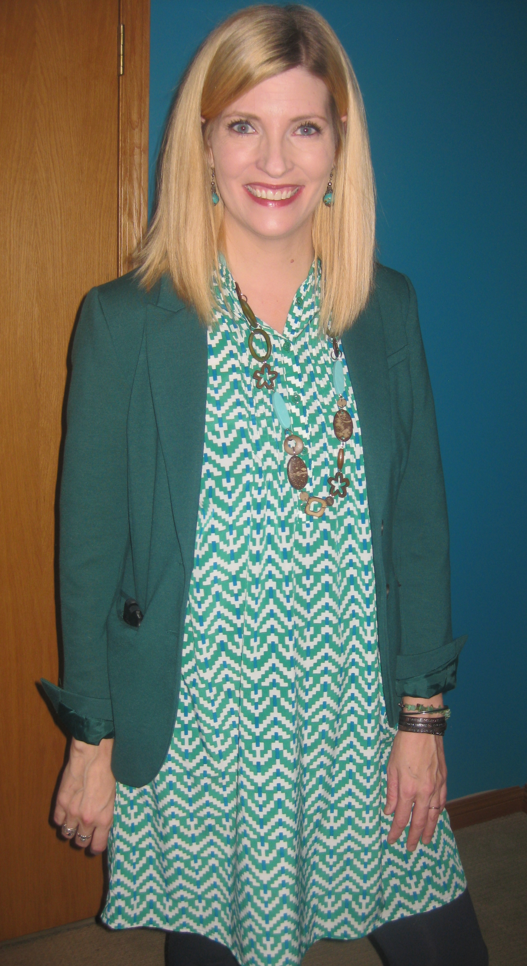 Gap dress $9.10, blazer , leggings from my closet, Arnold Churgin boots and She Does Create necklace.