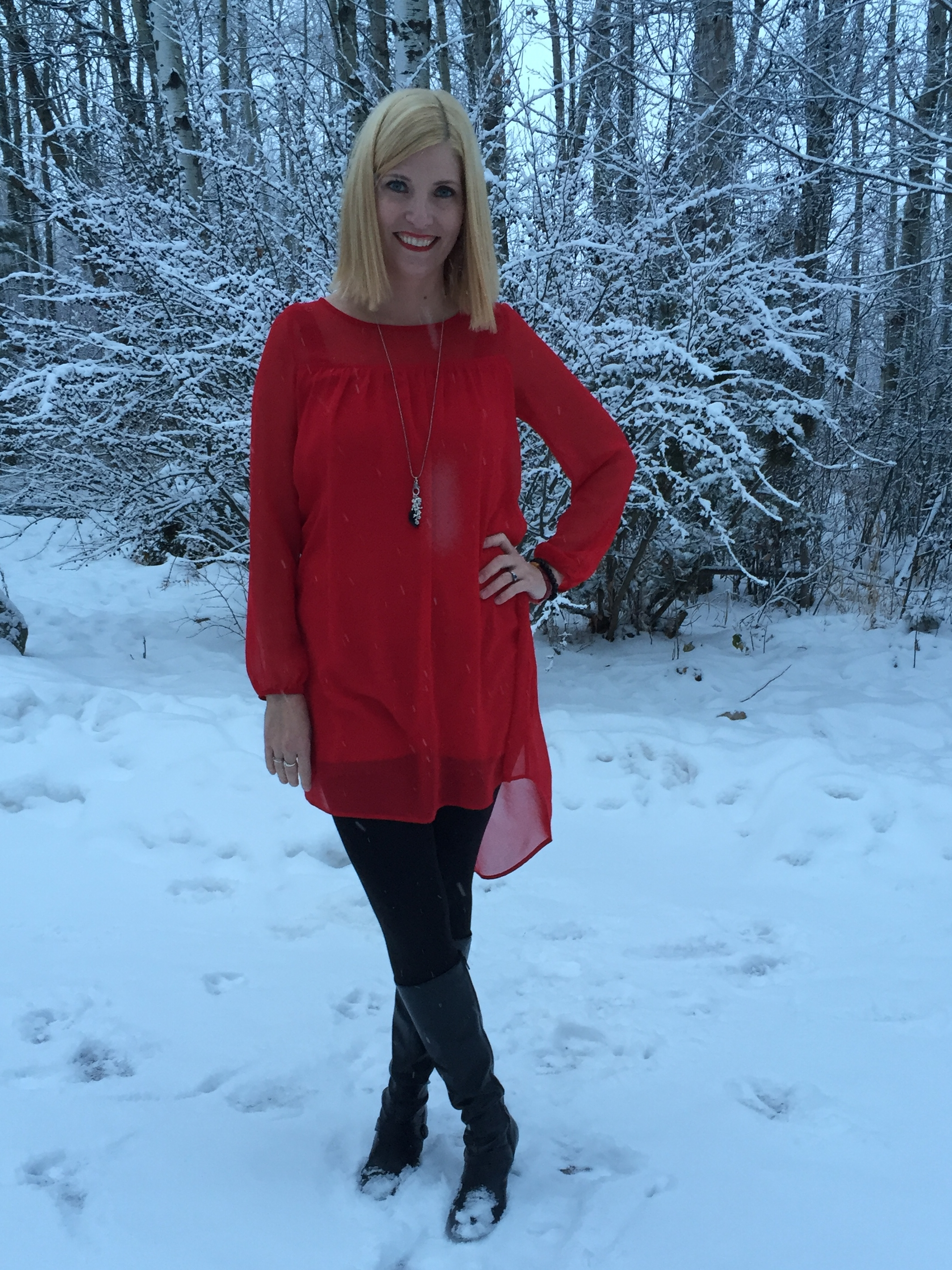 """Everly """"dress"""" $4.20, leggings $6 and Naturalizer boots"""