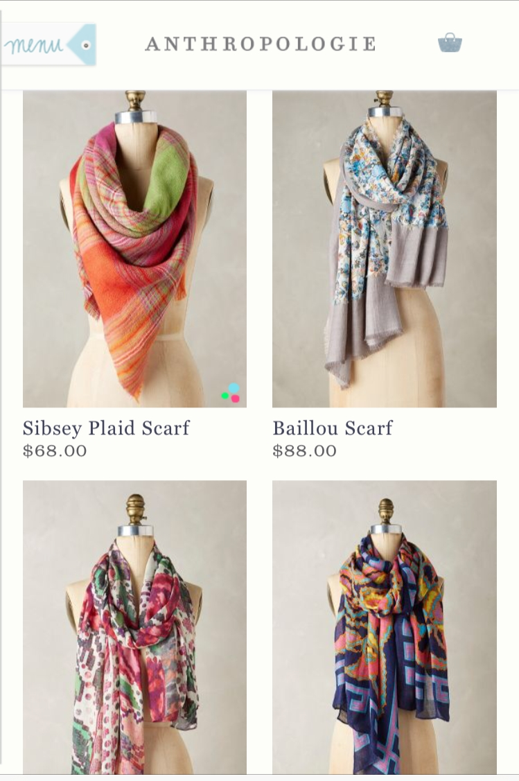 Seeing all of those makes me feel like I'm fresh out of colourful-print scarves!  I don't have anything like those!