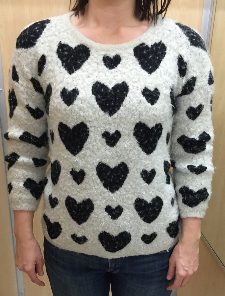 Rachal loves heart prints!!  Should've guessed it - me too!  But this one was a little too fuzzy and the shoulder hearts were a little too shoulder pads.
