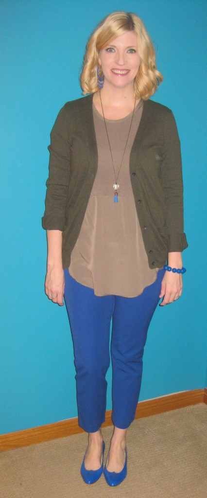 Cobalt pants $4, cobalt shoes $5.50, olive top $2, olive cardi $3.50, cobalt bracelet $2.10, cobalt earrings $4 and cobalt tassel pendant by She Does Create.