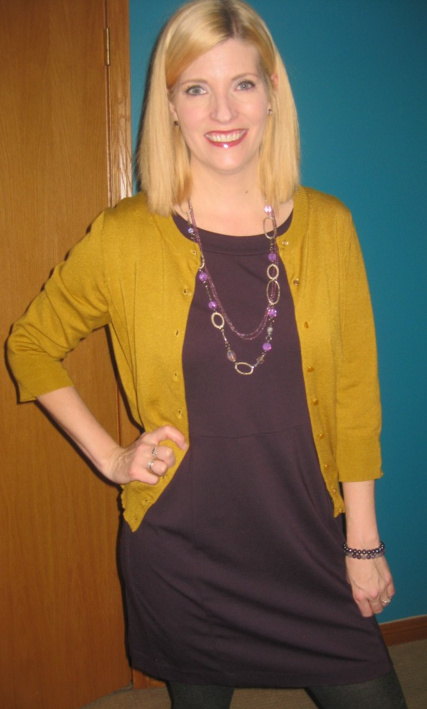 And how about that mustard cardi?!  Looks great with purple too!