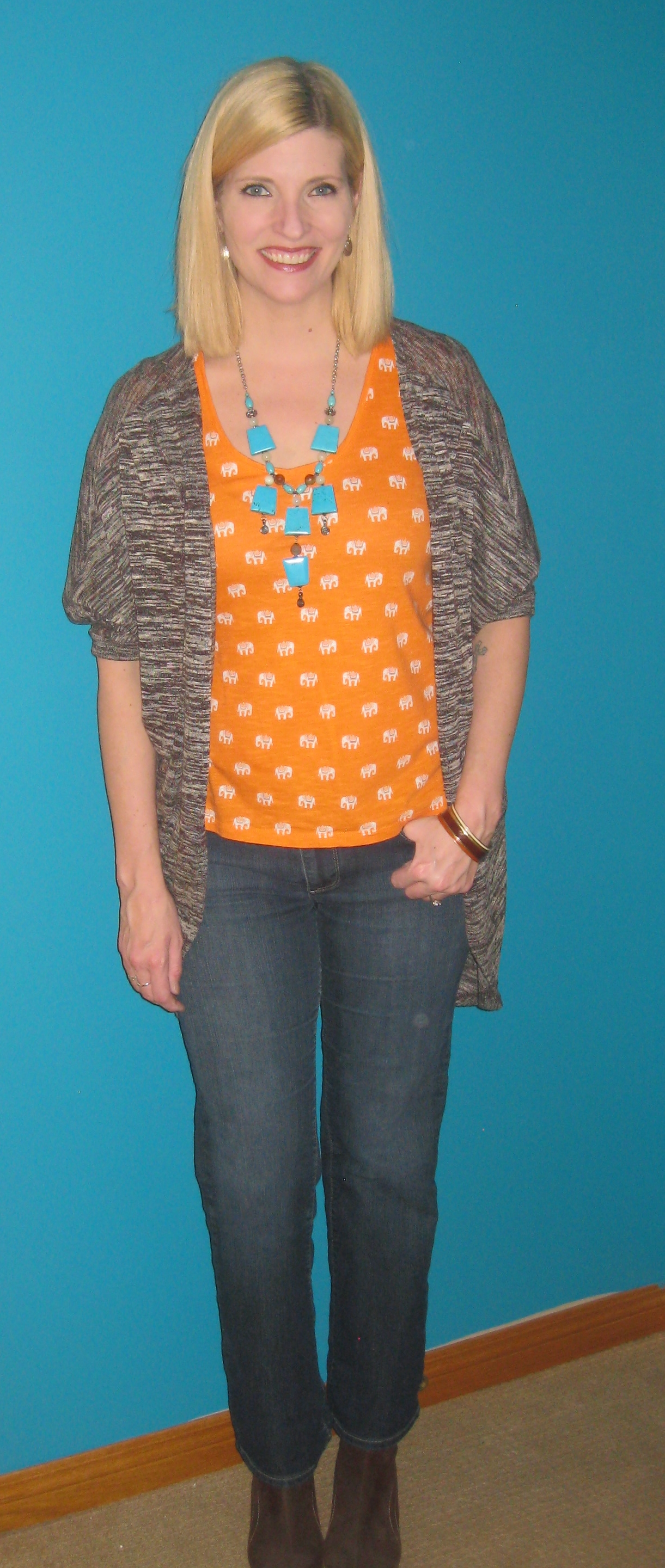 Orange elephant print BR tee $4.90, Paige denim flares $3, leather vintage ankle boots $10