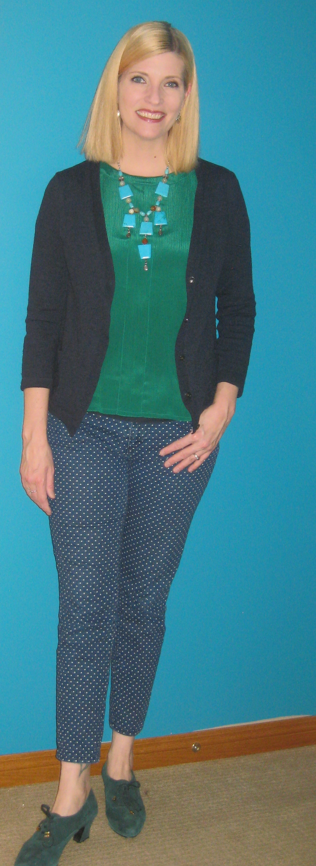 Green top $4.20, handmedown cardi, polka dot jeans $6.40, green suede vintage shoes $14.25