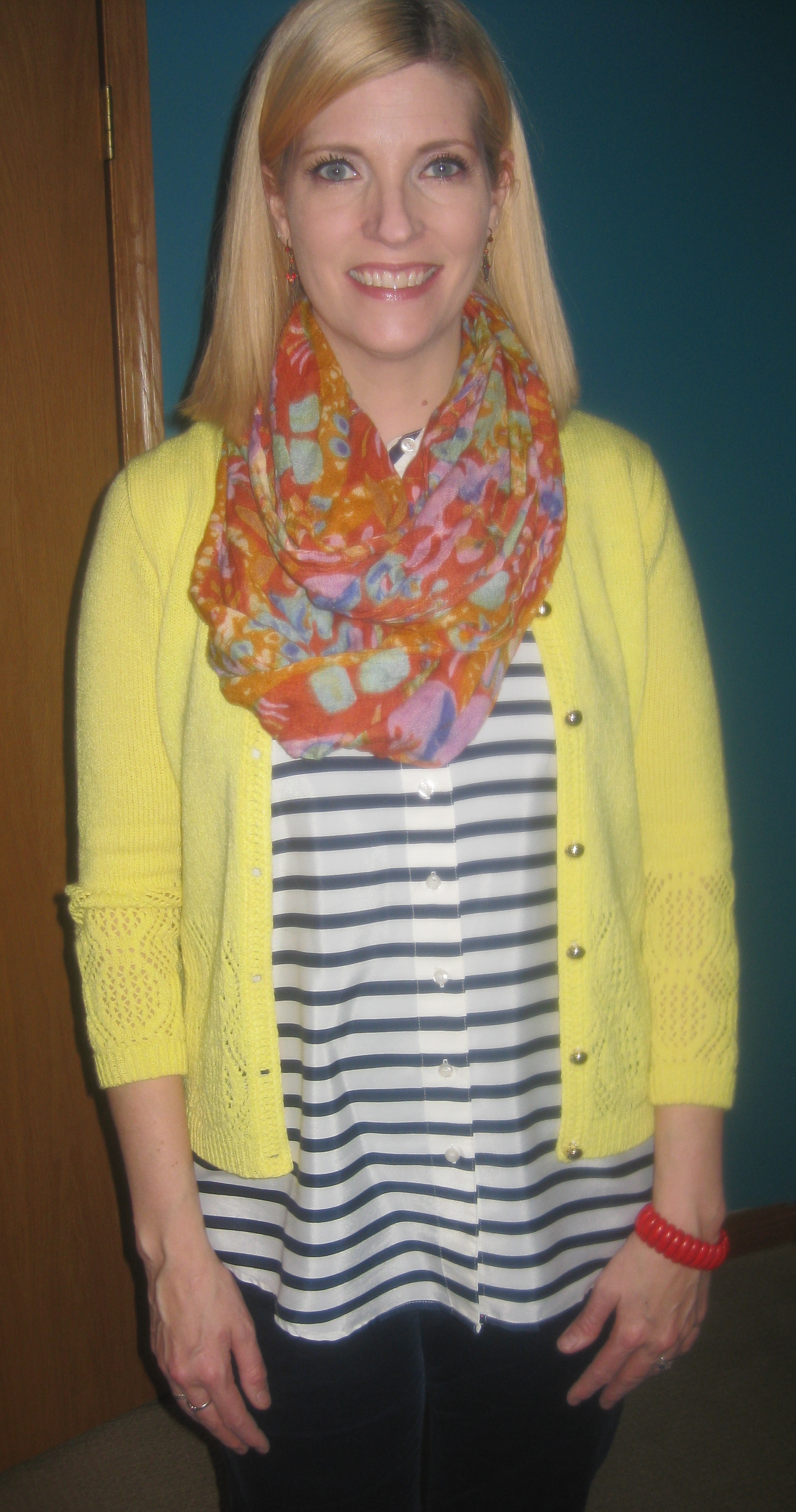 Lemony wondeful vintage cardi from the Salvation Army gift shop for $6.75!
