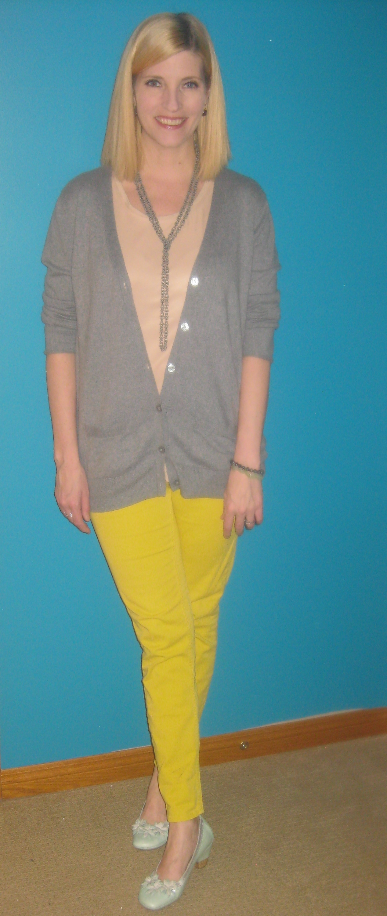 Yellow pants B.T. (Before Thrifting), Simply Vera Wang blush shell $2.50, grey cardi $2.50, Hispanitas shoes $17 and necklace B.T.