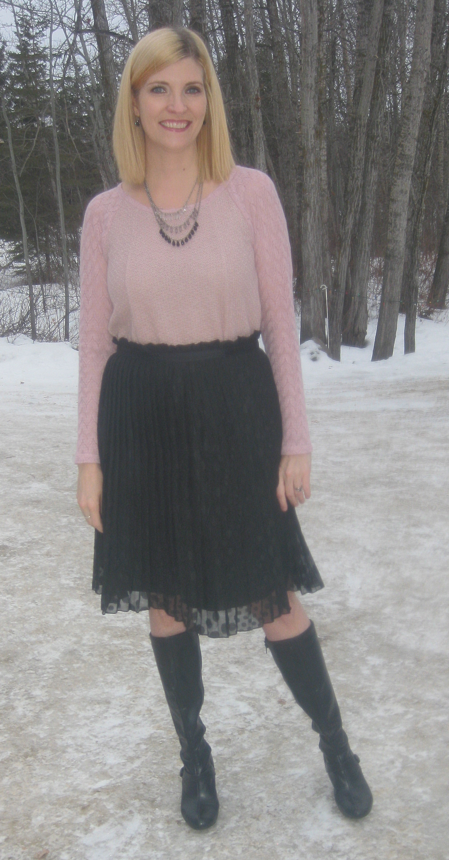 Gifted but thrifted pleated skirt, Naturalizer boots plus accessories from my collection.