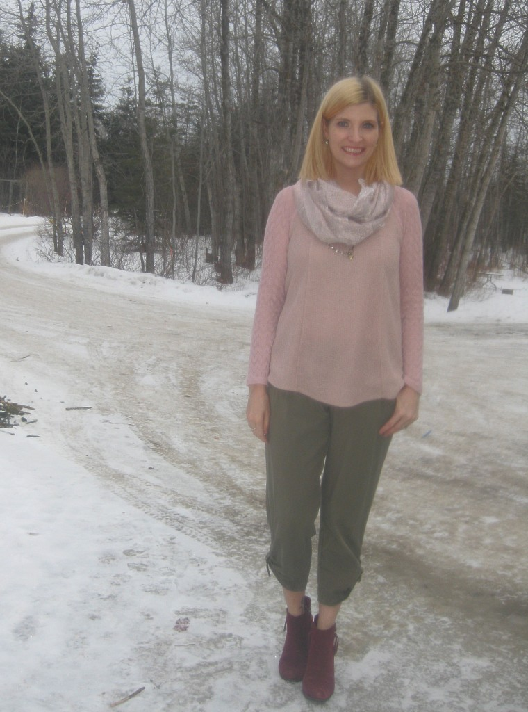 Ann Taylor pants $4.40, gifted handmade scarf, suede ankle boots $11.90