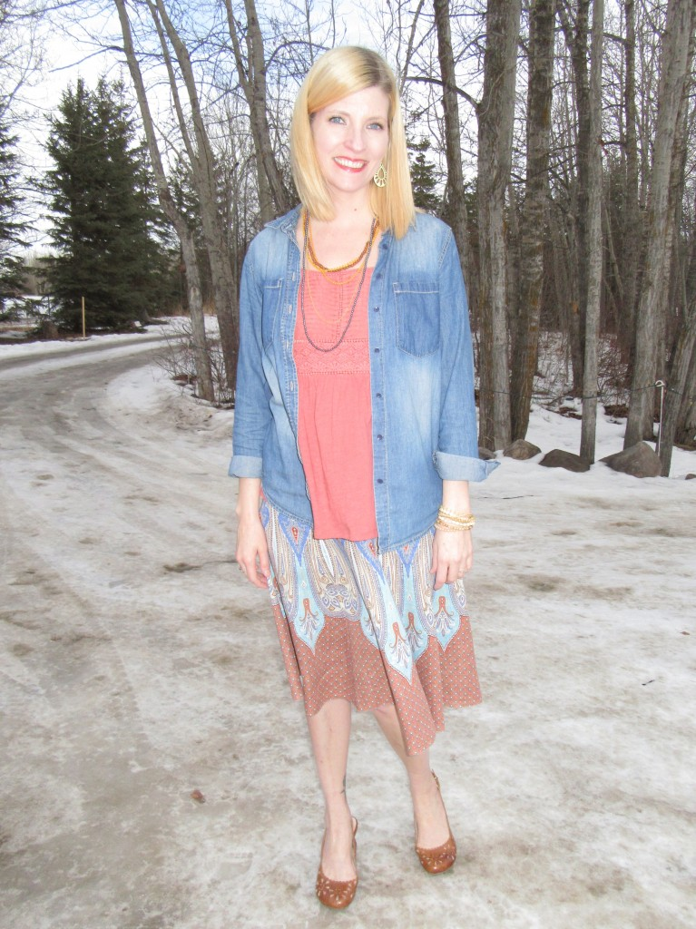 Elie Tahari skirt $5.60, Anthro top from my closet, Miz Mooz slingbacks $7.70 and accessories from my collection