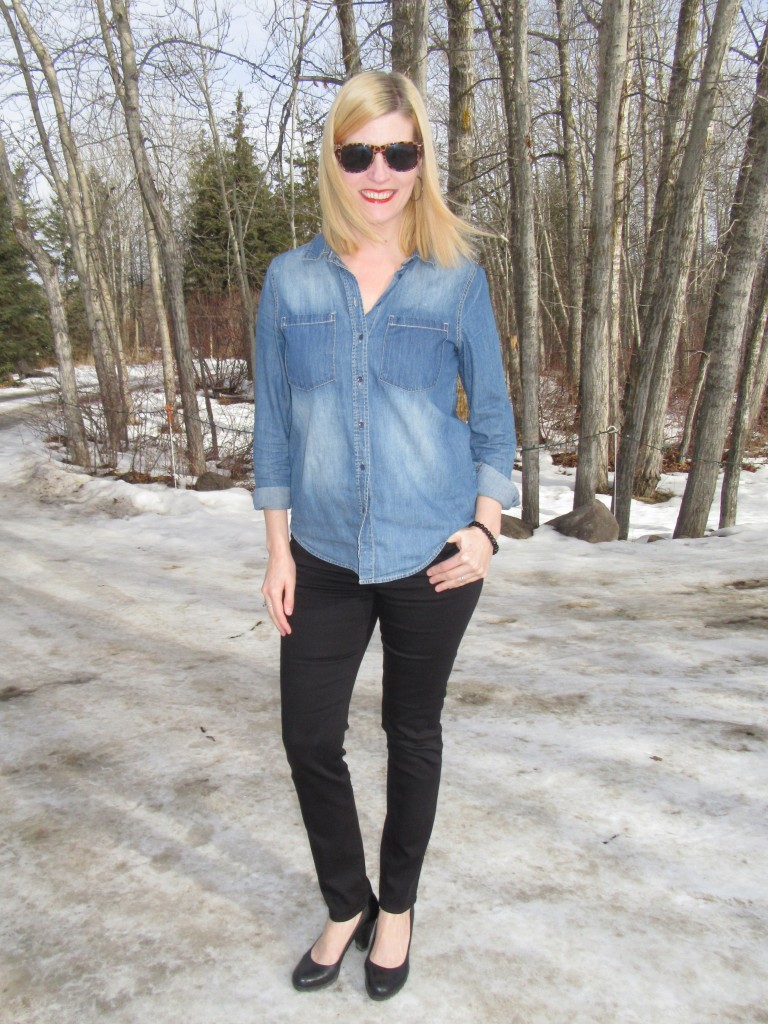 With my black JBrand skinnies and leather pumps $14