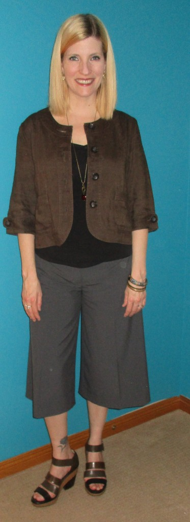 Black tank from my closet, olive linen cropped blazer $3.50, Robert Clergerie sandals