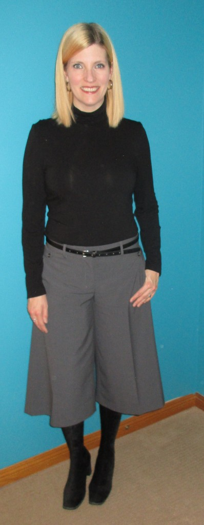 Black Nicole Miller turtleneck $2, belt $3.50 plus stretchy cord boots I got in Korea circa 1996.