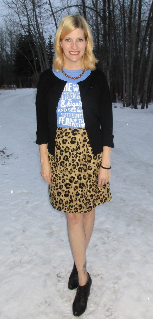 Leopard print skirt $7, Clarks leather ankle boots $13, cardi B.T. (Before Thrifting) plus accessories from my collection.