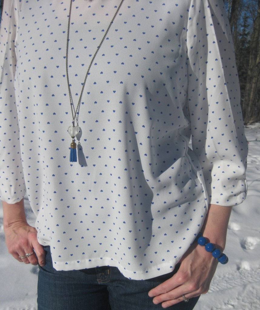 Cobalt heart print top $9