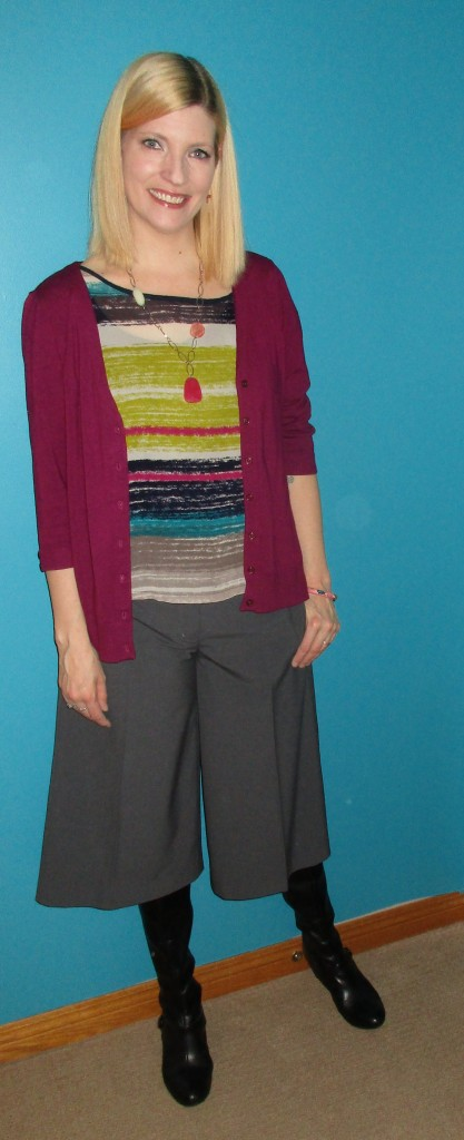 Shell and necklace B.T. (Before Thrifting), raspberry cardi $4.50, Naturalizer boots $12.60