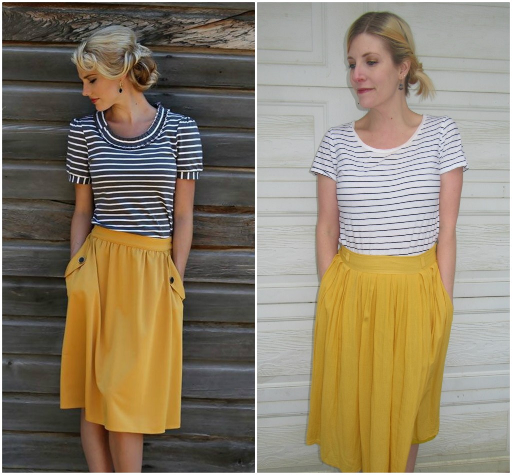 This is the pin that started  my mustard skirt obsession! I inadvertently pinned it a few times!  What a miracle that my mustard skirt also has pockets!  Striped tee $3.15.