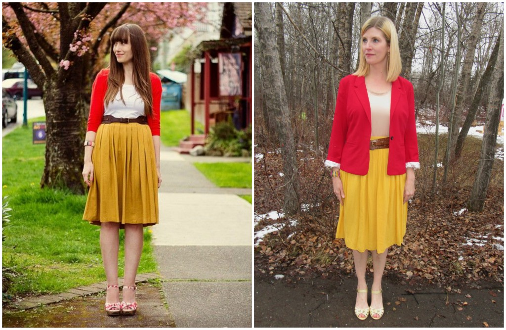 Mustard's natural partner  is ketchup of course!  Red Kensie blazer $3.85, Simply Vera Wang top $2.50, Fossil leather belt $6, Miz Mooz shoes $9.80