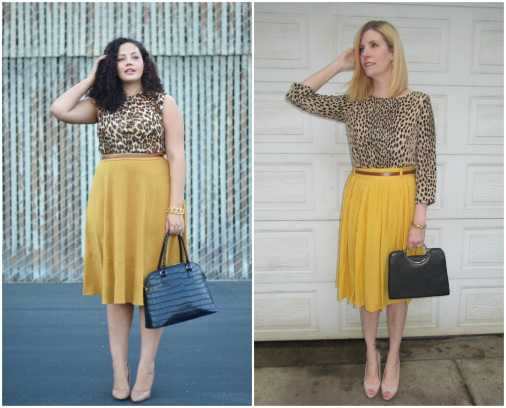 Leopard print is a neutral  so it goes with everything but looks especially good with mustard!  J Crew top $6.30, nude patent peep toes $13.30, vintage bag $10 and belt B.T. (Before Thrifting)