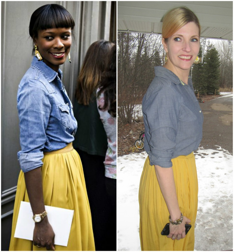 OF COURSE chambray looks brilliant with mustard!  Fan earrings from Plato's Closet.
