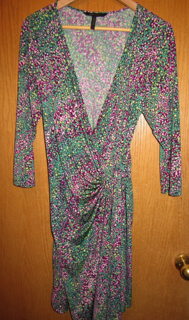 BCBG Max Azria wrap dress for $9. So much I love here - wrap dress, green, pink, comfortable, great price! Could NOT say no to it!