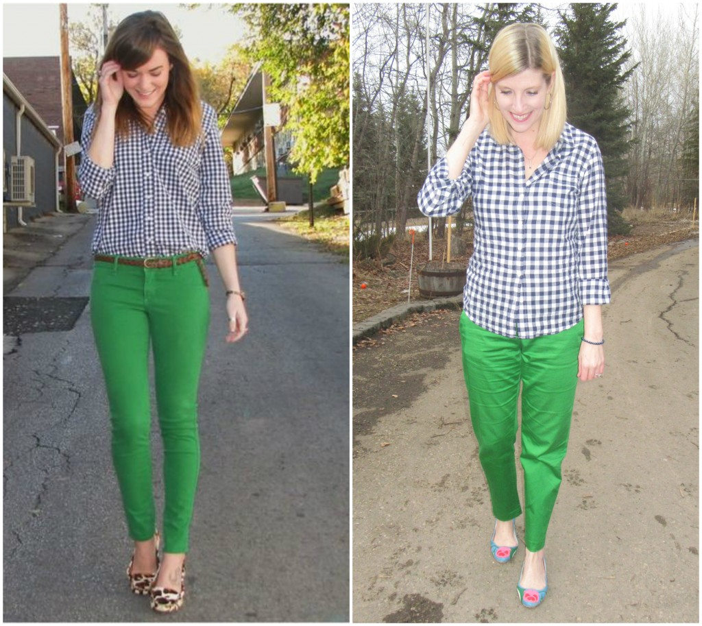 I'm not the only one who likes gingham with green - there were plenty of pins with this exact combo!  My only question is: WHY does everyone have to tuck their pants?!! #afraidofpants