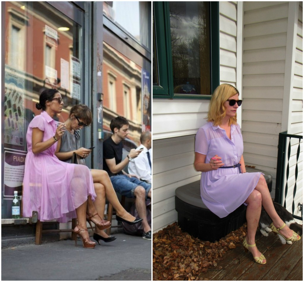 """""""Street Style"""" for her, """"Acreage Style"""" for me. She's holding a ciggy, I'm holding lipstick."""
