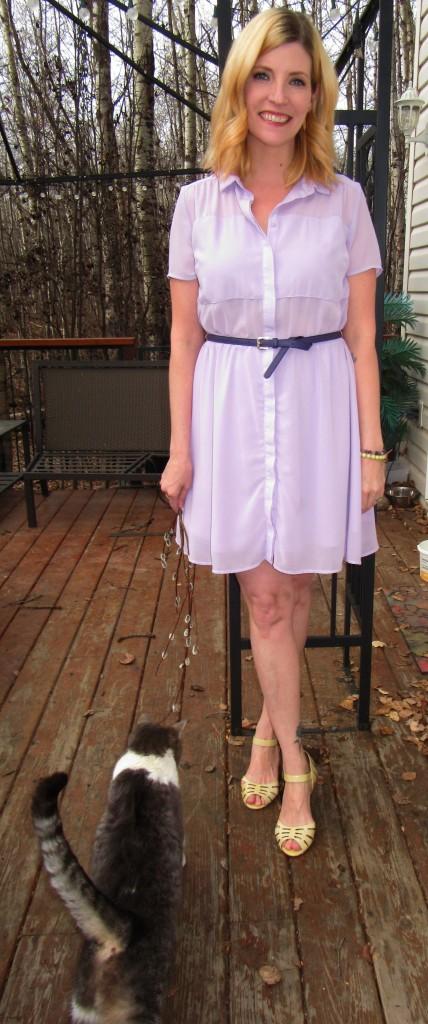 Lilac Twik dress $9, purple belt $1.40, Miz Mooz sandals $9.80 plus She Does Create accessories.