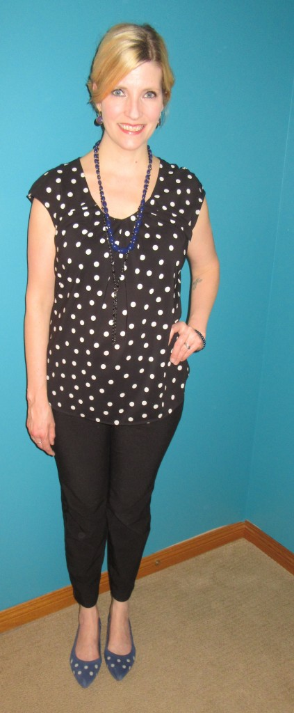 Polka dot top $4.80, black pants $5, blue necklace $3, Marc Art of Walking shoes $19