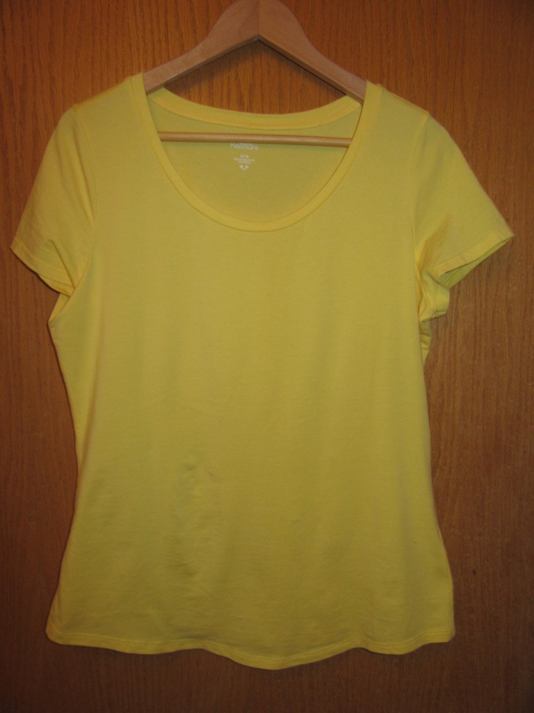 I was looking for a white tee but the thrift mojo provided me with a yellow one - new with tags, $4.