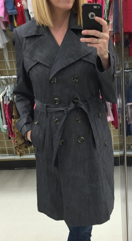 This Calvin Klein denim-esque trench road around with me till the bitter end when I decided it had too many buttons was was priced too high for my budget at $20.