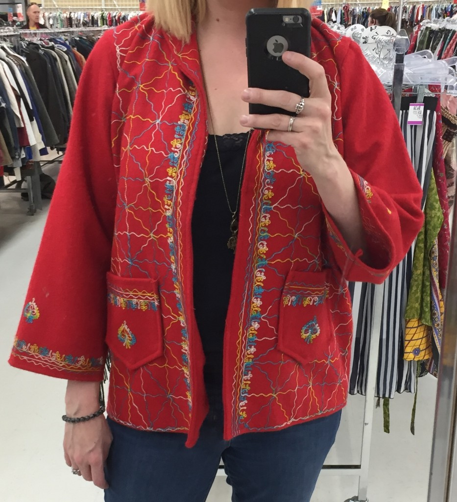 I liked this one-of-a-kind coat but it was ITCHY. Pass.