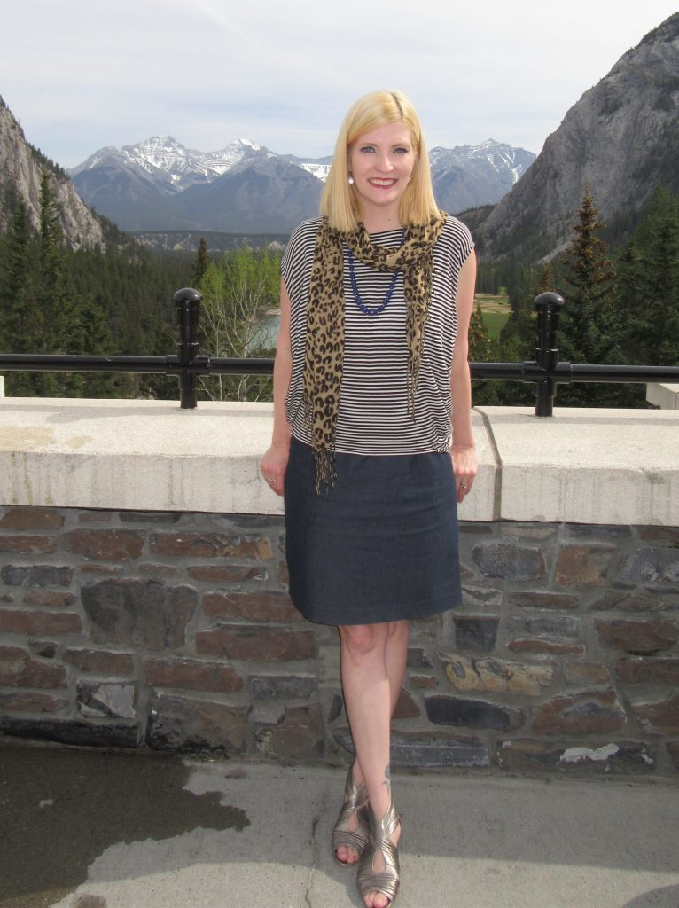 With a Mexx striped top $7 over the dress, leopard scarf  $2.80, necklace $3, and metallic flats $7.70.