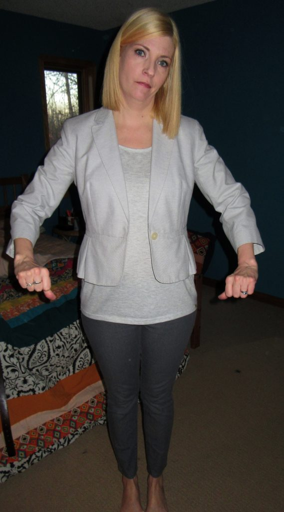 "The usual ""no-fail"" fashion formula short over long over skinny did NOT work with this blazer.  Now what?!"