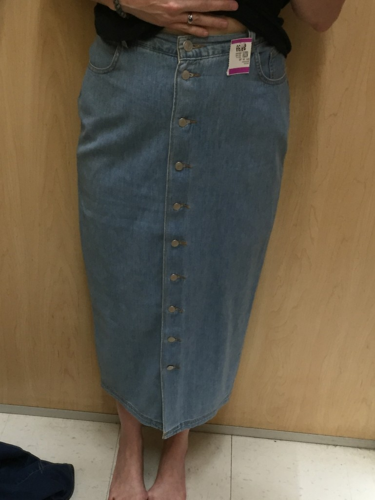 This BR denim skirt was so soft but TOO tight. boo